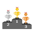 Pixel podium with trophy cups and medals vector image