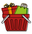 shopping basket with gift and bag vector image