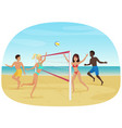 people having fun playing volleyball on the beach vector image