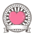 Grunge rubber stamp with heart Valentines Day vector image