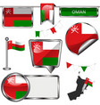glossy icons with flag of oman vector image