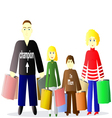 family with shopping vector image