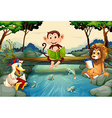 Wild animals reading books by the river vector image vector image