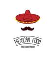 sombrero and mustache mexican food badge vector image