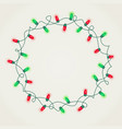 wreath of green and red christmas lights vector image