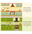 Kitchen Interiors Horizontal Banners vector image