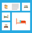 flat set of bed crib hostel and other vector image