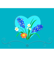 Heart and flowers vector image vector image
