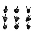 black rock and roll music hand sign icons vector image