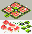 Isometric Cluster House Collection Set vector image