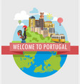 welcome to portugal travel poster of vector image