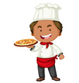 Italian chef with tray of pizza vector image vector image