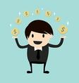 Business man making money vector image