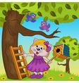 cat girl bears a birdhouse vector image