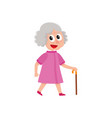 adult woman walks happily with cane in hand vector image