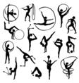 Black Gymnastics Female Silhouettes vector image