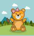 cute lion girl bow adorable landscape natural vector image