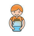 cute little boy character with bottle water vector image