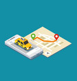 isometric taxi location and map vector image