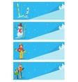 Mountain skier winter sport flyer design template vector image