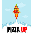 Pizza Up logo for pizza delivery Fast shipping vector image
