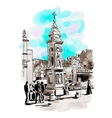 watercolor travel card from Rome Italy old vector image