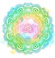 Mandala watercolor with the eye of providence vector image