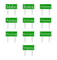 Set road signs of USA states vector image