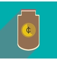 Flat with shadow icon stylish purse for coins vector image