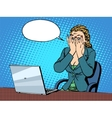 Businesswoman with laptop bad news vector image