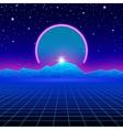 Retro styled futuristic landscape with neon arc vector image