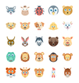 Birds and Animals Faces-3 vector image