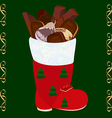 Christmas boots with set of candies and cookies vector image