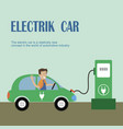 electric car is charging vector image