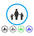 mother and children rounded icon vector image