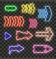 set of glowing neon arrows with different colors vector image