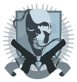gangster emblem with pistols vector image