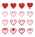 heart emoticon face icons set vector image