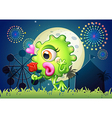 A monster holding a red rose at the carnival vector image
