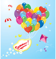 Image with colorful balloons in heart shape vector image