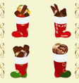 Santas boots set with sweets vector image