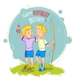 Two little boys twins are returning from fishing vector