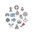 Nautical Sea Round Design Template Thin Line Icon vector image