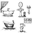 Bathroom interior elements hand drawn vector image