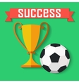 Flat design of soccer ball and gold winner cup vector image