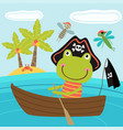 frog pirate in the boat vector image
