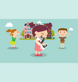kids find a dog in city with buildings background vector image