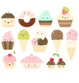 Set of vanilla chocolate strawberry ice cream vector image
