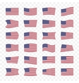 USA flags set with different bending effects vector image