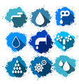 Water Symbols - Icons Splash Set vector image